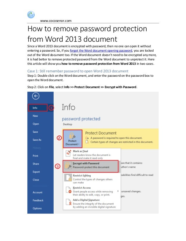 microsoft word 2013 unprotect document