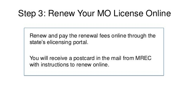 how to renew a missouri real estate license