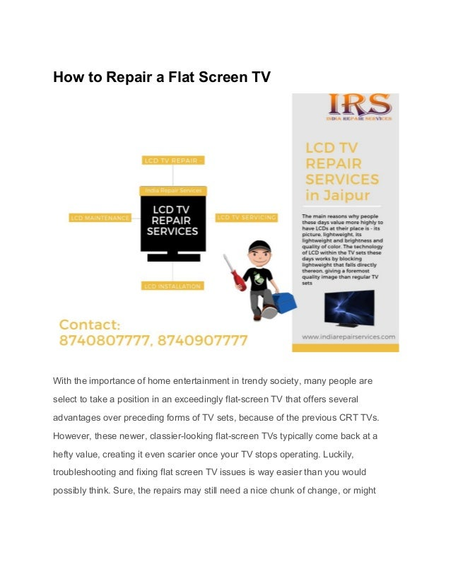How to repair a flat screen tv