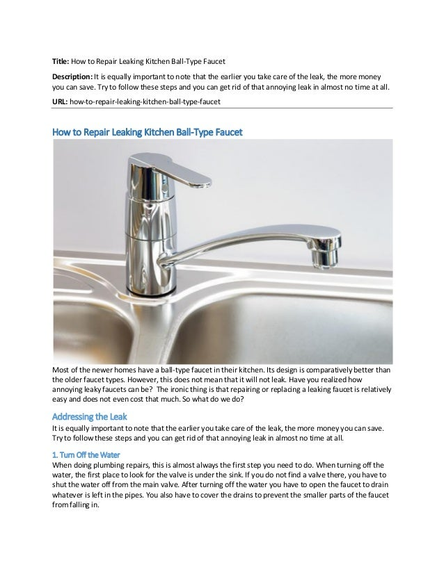 How to repair leaking kitchen ball type faucet