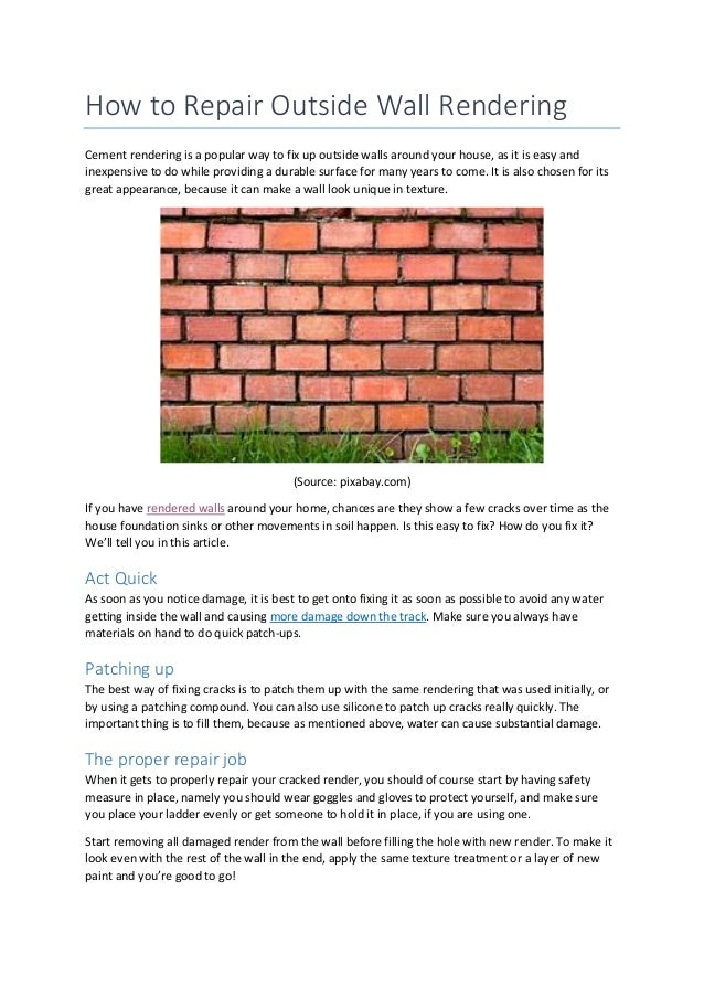 How to repair outside wall cement australia how to repair outside wall rendering cement rendering is a popular way to fix up outside solutioingenieria Images