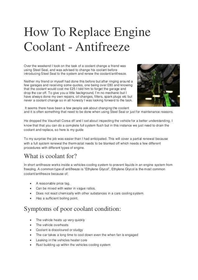 vauxhall engine coolant how to replace engine coolant antifreeze  how to replace engine coolant antifreeze