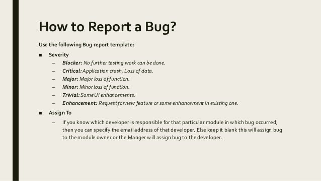 How to report bugs – Bug Report Template