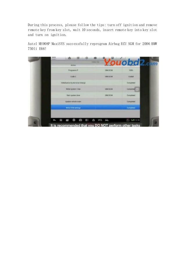 How to reprogram ecu for bmw 750li e66 with autel ms908 p