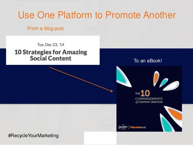 Use One Platform to Promote Another From a blog post To an eBook! #RecycleYourMarketing