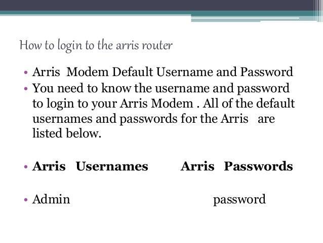 how to change arris modem password