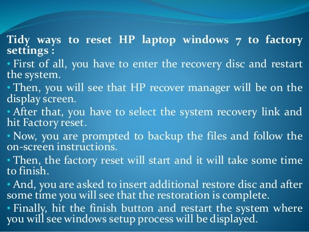 how to reset laptop to factory settings windows 7