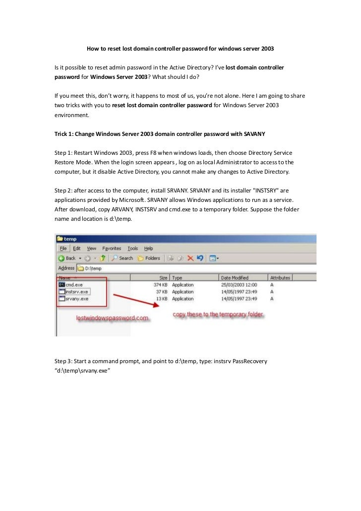 How to reset lost domain controller password for windows server 2003<br />Is it possible to reset admin password in the Ac...