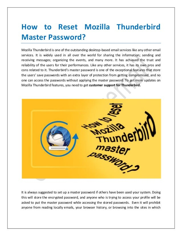How to reset mozilla thunderbird master password