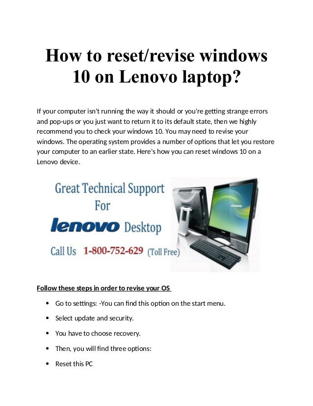 How To Format Lenovo Laptop Windows 10 How to Reset Your