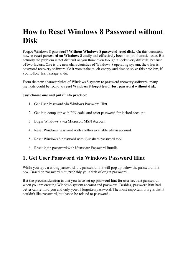 windows 8 password recovery disk