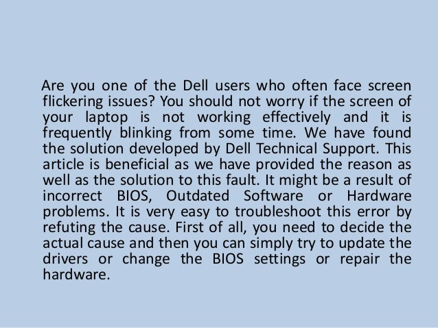 How to resolve screen flickering issues in Dell laptops?