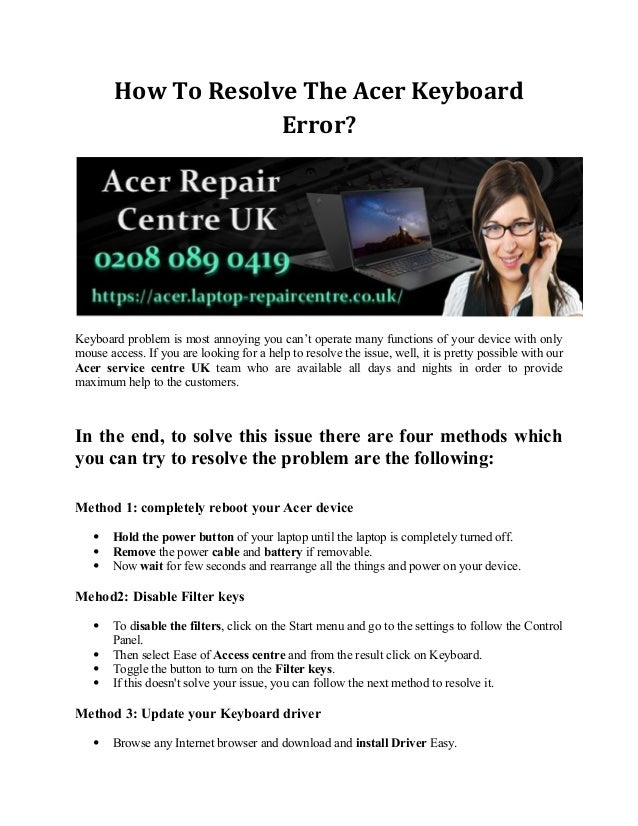 How To Resolve The Acer Keyboard Error?