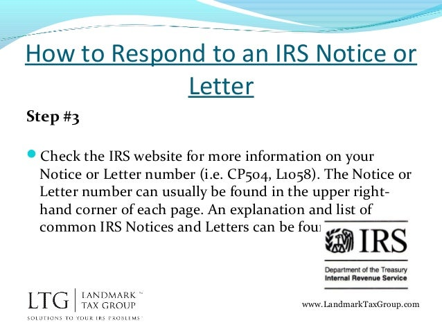 How to respond to an irs notice or letter irs tax help relief landmarktaxgroup 5 spiritdancerdesigns Gallery