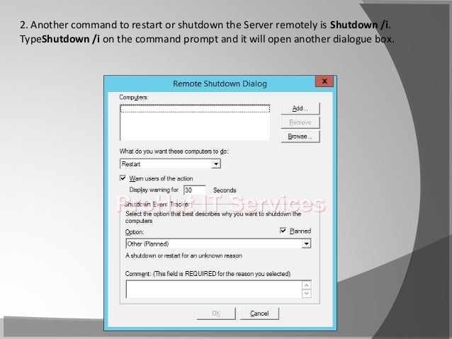 How to: Steps to Restart or Shutdown server remotely from Command Pro…