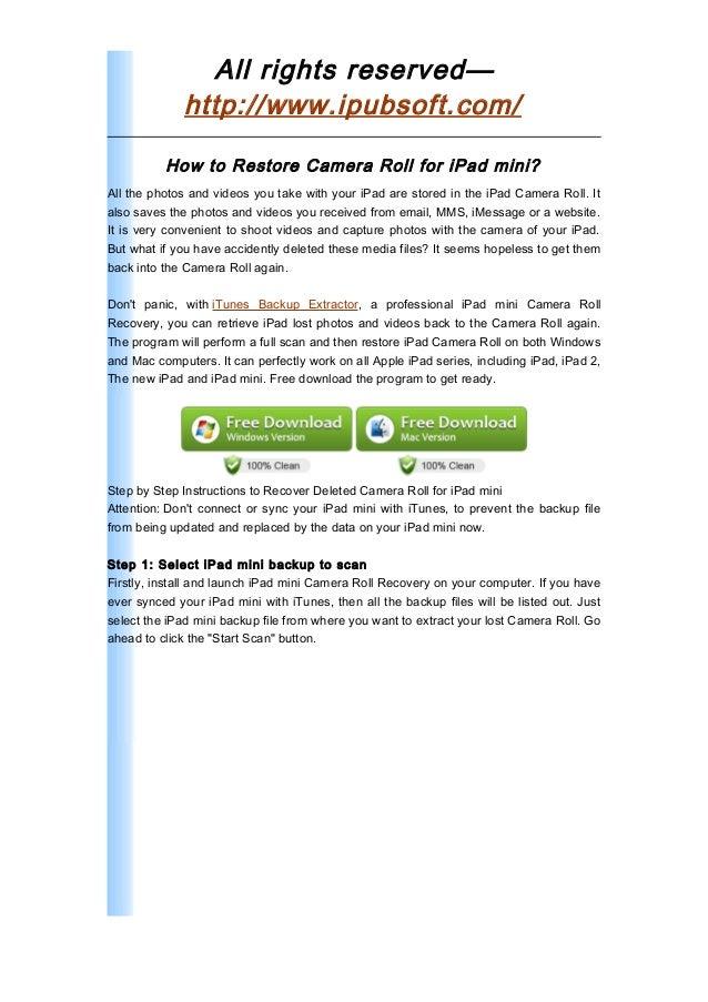 Ipad Mini Camera Roll Recovery Recover Deleted Photosvideos For Ipad