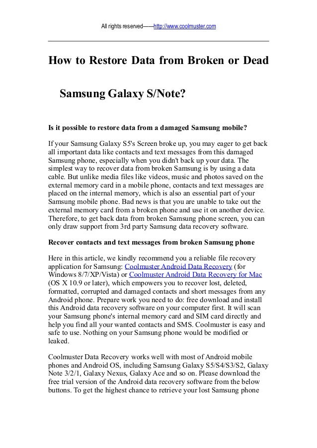How to restore data from broken or dead samsung galaxy