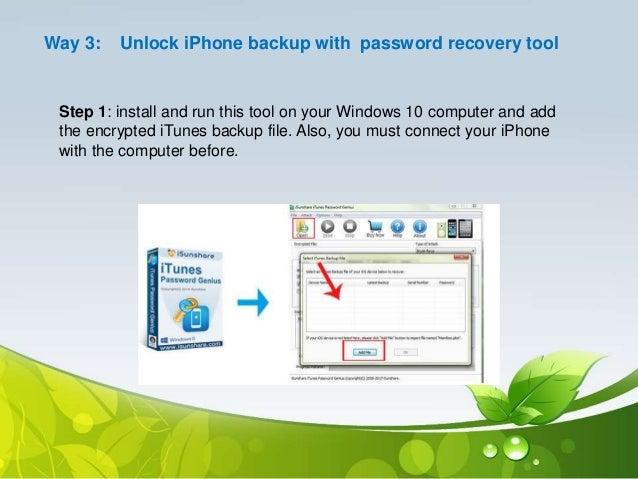 unlock iphone 6 backup password