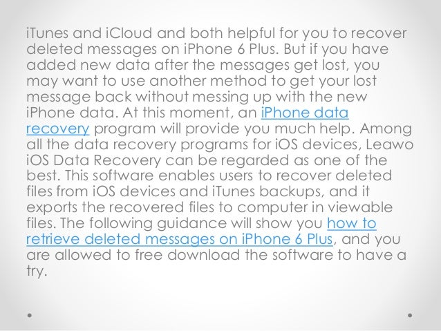 how to recover deleted iphone messages how to retrieve deleted messages from iphone 6 plus 18974