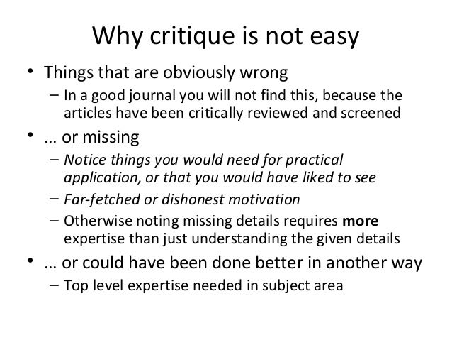 how to review a journal paper and prepare oral presentation  answer questions 6 why critique