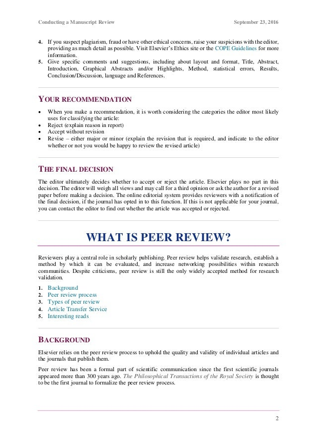 How to Review a Manuscript (By Elesvier)