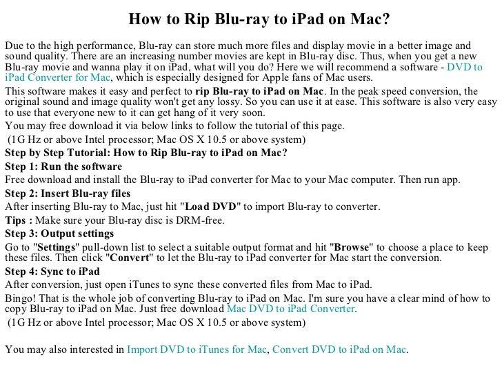 How to rip blu ray to i pad on mac