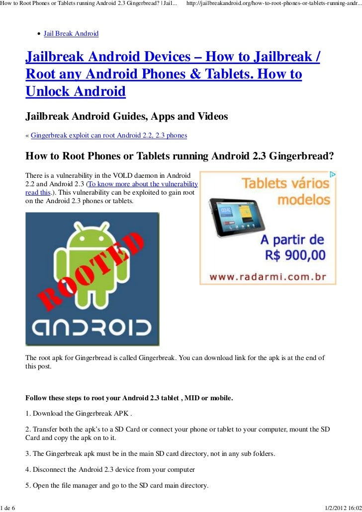 How to root phones or tablets running android 2 3