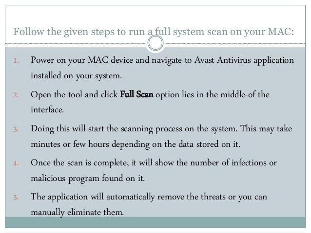 How to run a full system scan on mac with avast antivirus?