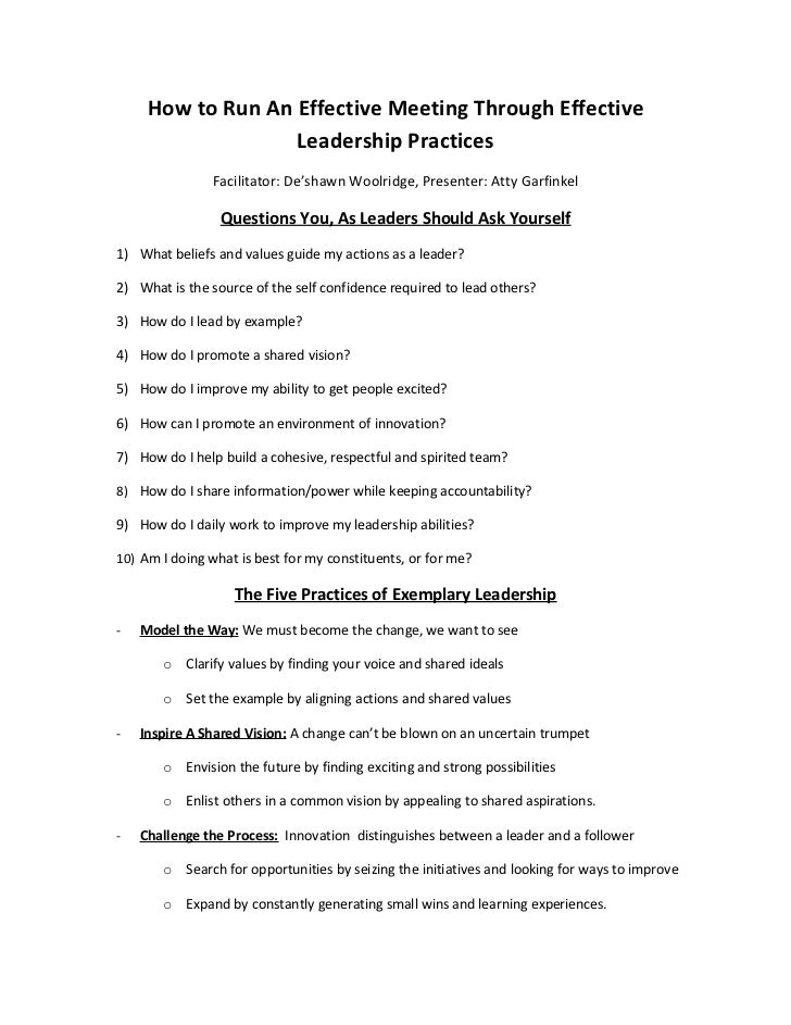 How to Run An Effective Meeting Through Effective                   Leadership Practices               Facilitator: De'sha...