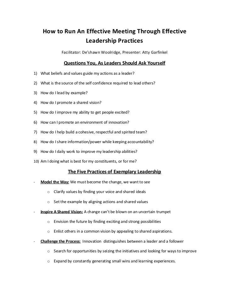 How to Run An Effective Meeting Through Effective                   Leadership Practices               Facilitator: De'sha...