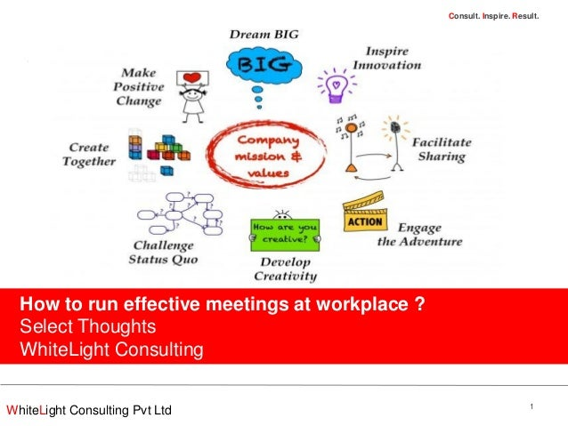 WhiteLight Consulting Pvt LtdConsult. Inspire. Result.How to run effective meetings at workplace ?Select ThoughtsWhiteLigh...
