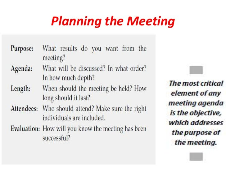 how to run a successful meeting The use of simple parliamentary procedure, the rules for running a meeting, results in successful business meetings everyone has an opportunity to voice opinions and vote.