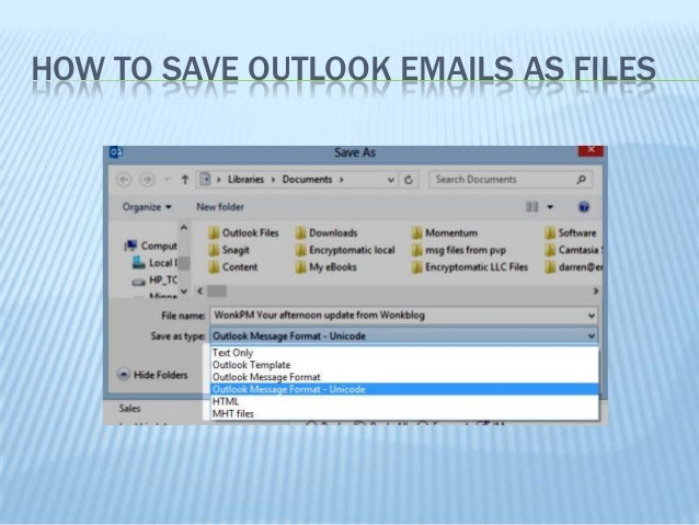 How to save an email as a file