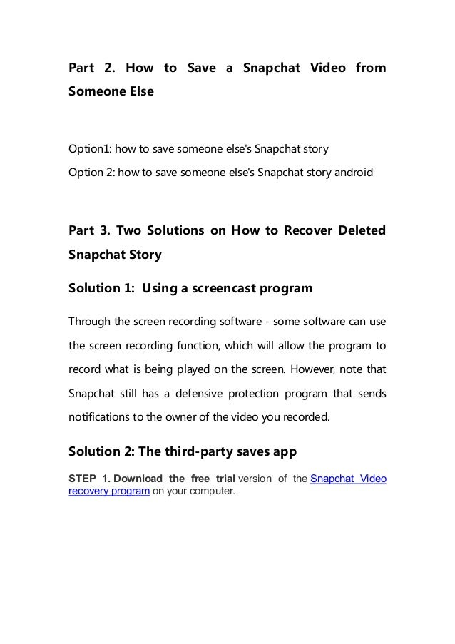 How to save snapchat videos in 2018