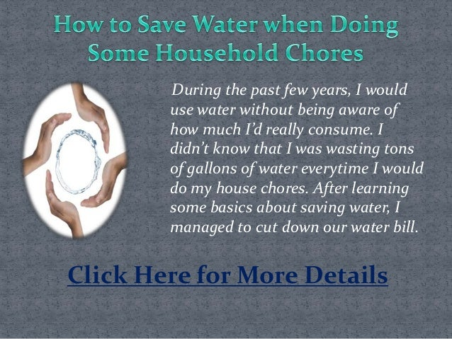How To Save Water When Doing Some Household Chores