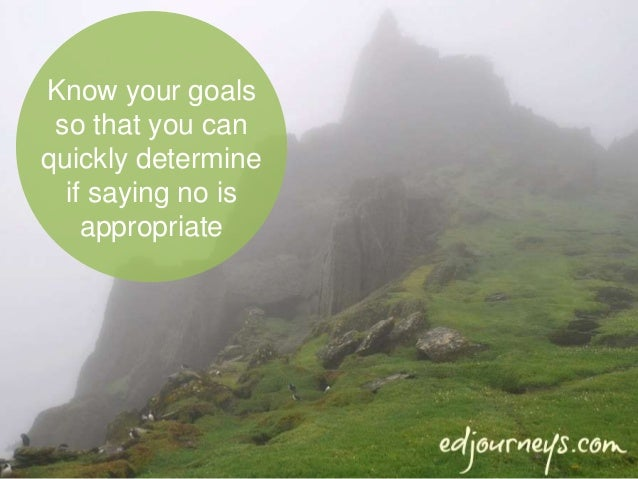 Know your goals so that you can quickly determine if saying no is appropriate
