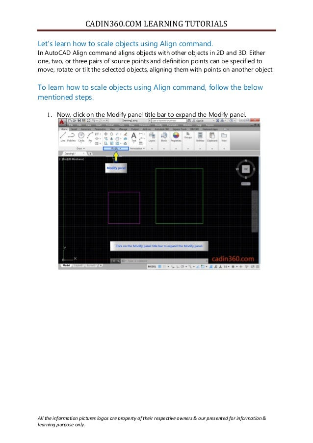 How to Scale objects using AutoCAD Align command