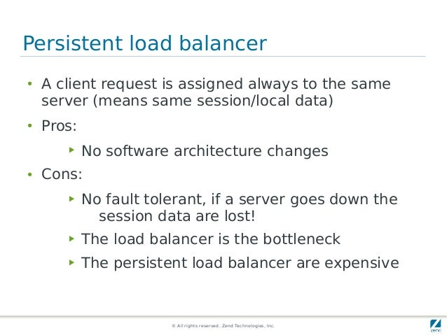 © All rights reserved. Zend Technologies, Inc. Persistent load balancer ● A client request is assigned always to the same ...