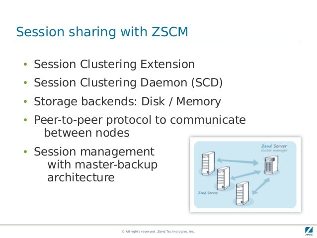 © All rights reserved. Zend Technologies, Inc. Session sharing with ZSCM ● Session Clustering Extension ● Session Clusteri...