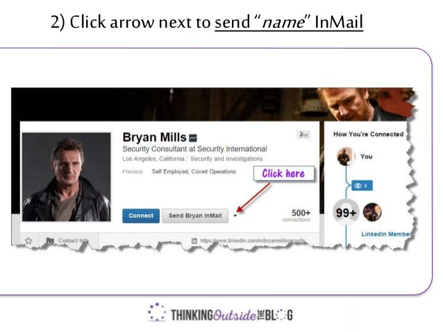 "2) Clickarrow next to send ""name""InMail"