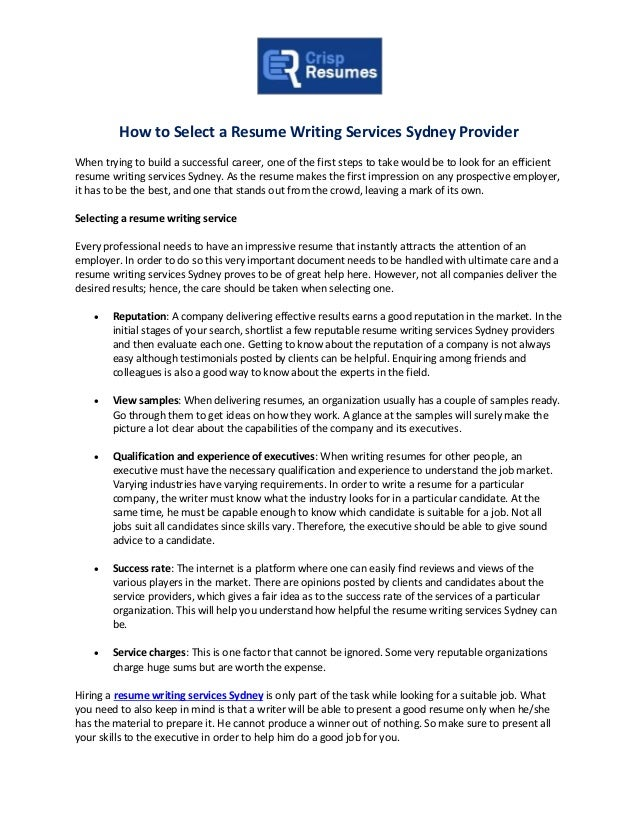 How To Select A Resume Writing Services Sydney Provider When Trying To  Build A Successful Career