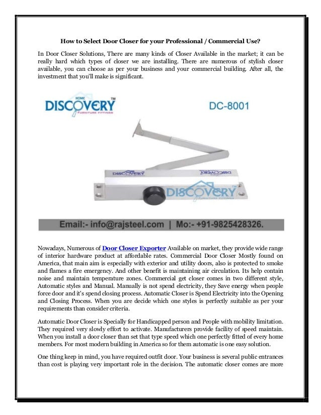 How to Select Door Closer for your Professional / Commercial Use? In Door Closer Solutions
