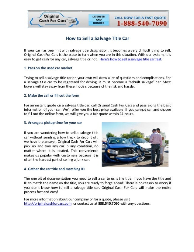 How to Sell a Salvage Title Car
