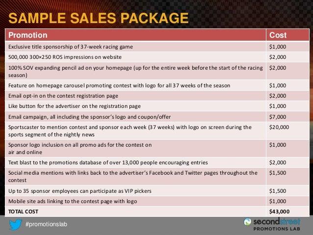 SAMPLE SALES PACKAGE Promotion  Cost  Exclusive title sponsorship of 37-week racing game  $1,000  500,000 300×250 ROS impr...