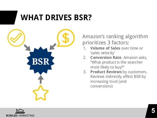 WHAT DRIVES BSR? Amazon's ranking algorithm prioritizes 3 factors: 1. Volume of Sales over time or 'sales velocity' 2. Con...