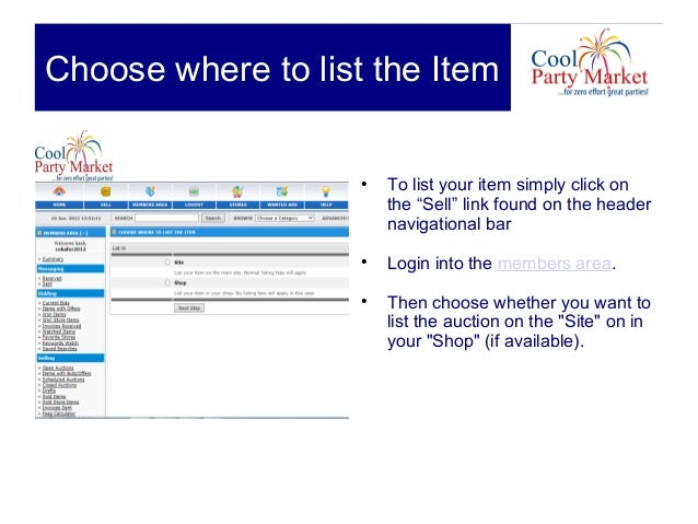 How to sell_on_coolpartymarket Slide 3