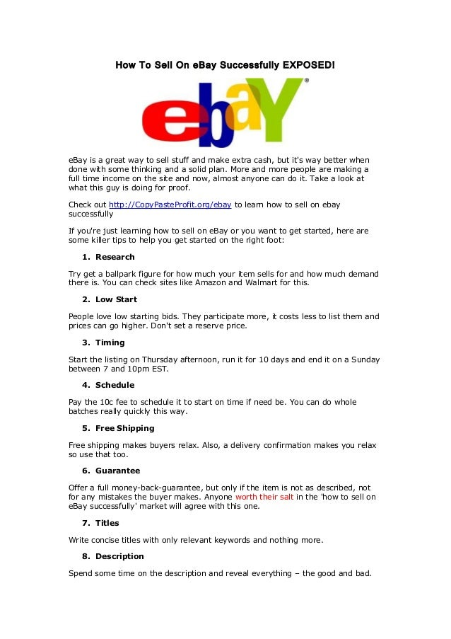 How To Sell On Ebay Successfully Exposed