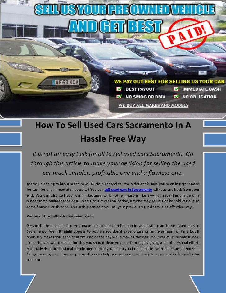 How to sell used cars sacramento in a hassle free way