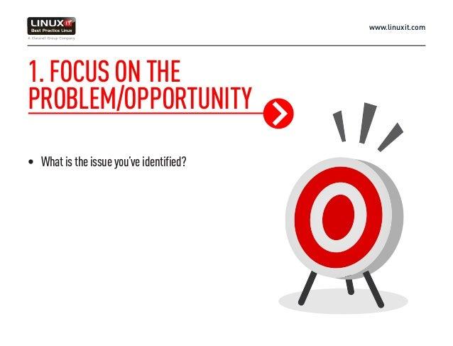 www.linuxit.com 1.FOCUSONTHE PROBLEM/OPPORTUNITY • Whatistheissueyou'veidentified?