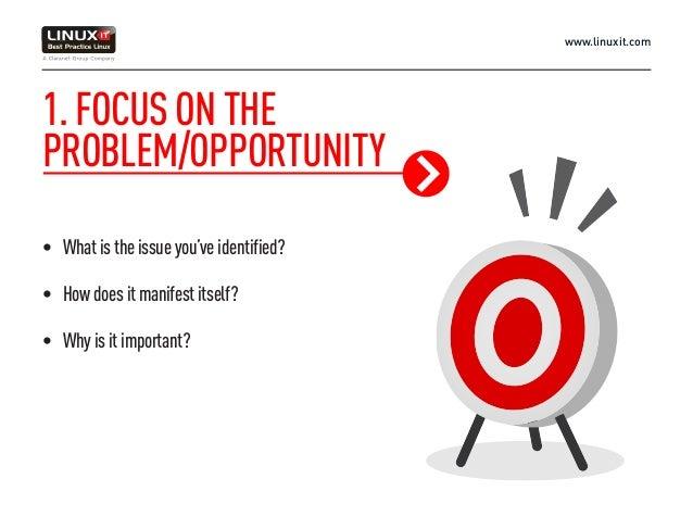 www.linuxit.com 1.FOCUSONTHE PROBLEM/OPPORTUNITY • Whatistheissueyou'veidentified? • Howdoesitmanifestitself? • Whyisit...